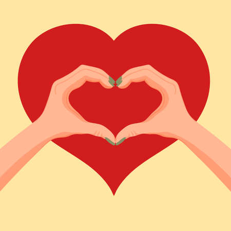 Women hands making heart sign up over, Valentines day Stockfoto - 127905035