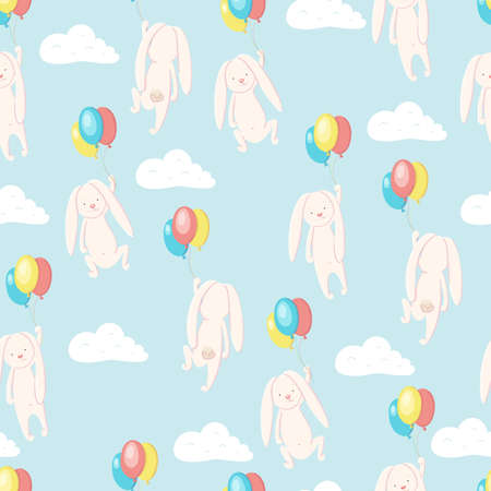 Seamless pattern ?ute hare and rabbit flying in the sky on balloons smiling and happy