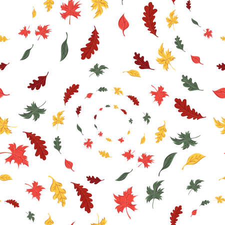 seamless pattern of autumn leaves of trees and oak and maple Ilustração