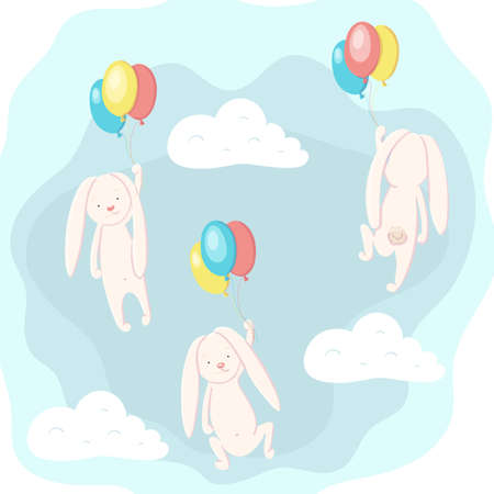 Cute hare and rabbit flying in the sky on balloons Stock Illustratie