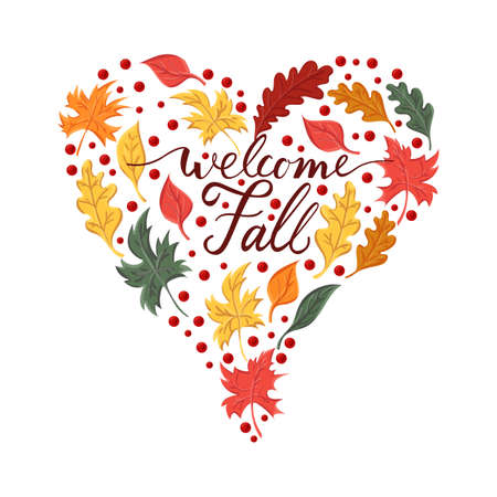 Background with the brush phrase welcome fall and leaves Stock Illustratie