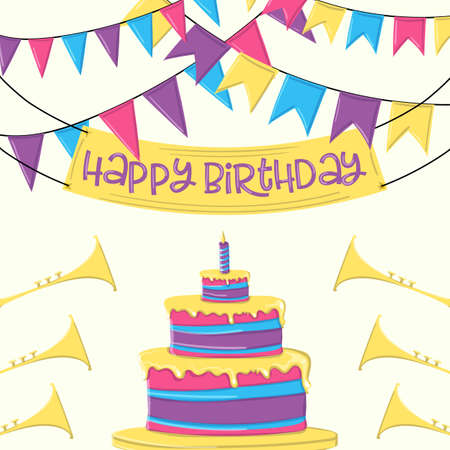 Happy birthday cake and ribbon party on white background vector design