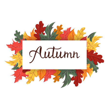 Modern brush phrase autumn. Background with the image of a leaf fall. Autumn with leaves. Ilustração