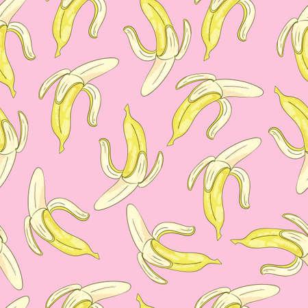 Seamless background with yellow bananas on pink. Vector cartoon illustration. Stock Illustratie