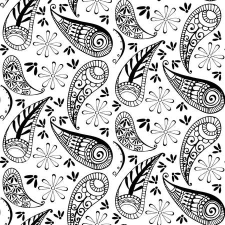 seamless pattern in style hand draw, doodle, zentangl, India