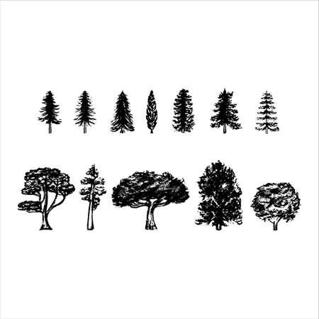 vintage tree silhouettes on white background. Stock Illustratie