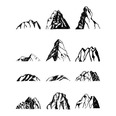 Mountains set. Hand drawn rocky peaks.