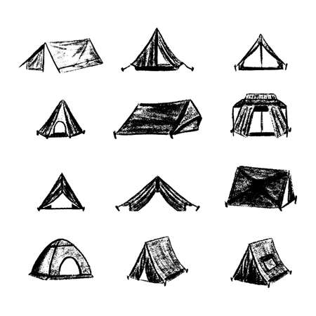 Hiking and camping tent icons. Triangle and dome vintage design tents collections.