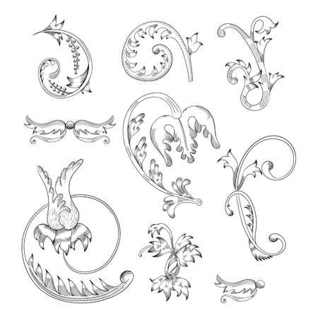 Vintage Set. Floral elements for design monograms, invitations, frames, menus and labels.