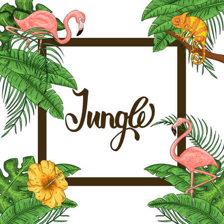 Jungle invitation with flamingo and chameleon, palm leaves and exotic hibiscus flowers