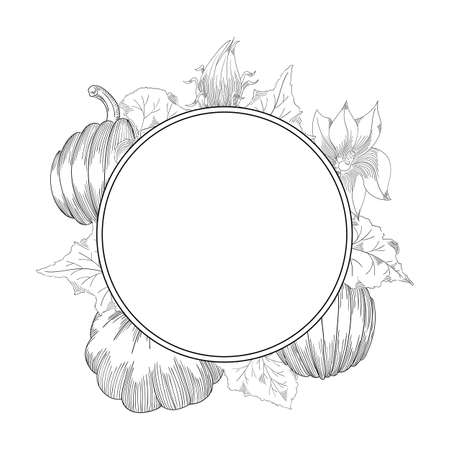 Pumpkin wreath drawing set. Isolated hand drawn object with sliced and leaves.