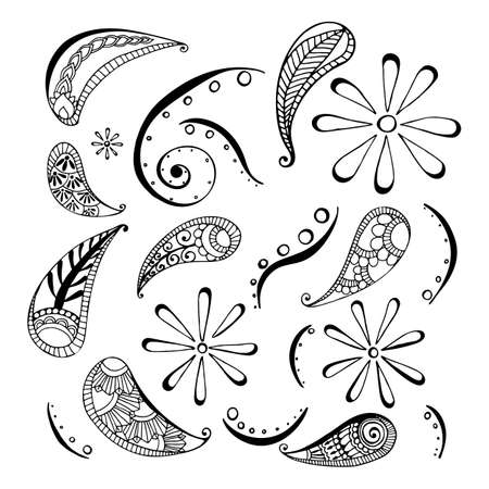 Pattern in style hand draw, doodle, zentangl, India on a white background Stock Illustratie