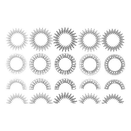 Linear drawing of rays of the sun set in vintage style on a white background Stockfoto - 128519786