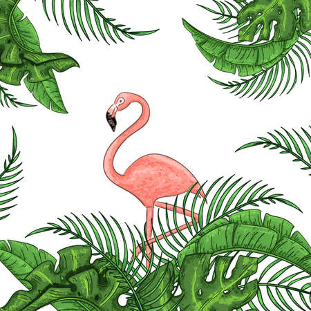 Beautiful floral exotic vector illustration with pink flamingo, tropical leaves. Isolated on white background Stock Illustratie