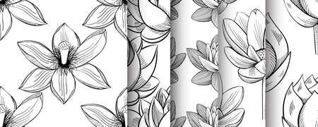 Lotus lily water flower seamless pattern set in a vintage style Stock Illustratie