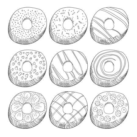 Donuts decorated with icing outline illustrations set