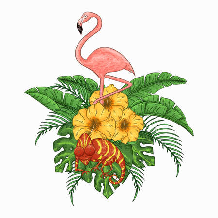 Flamingo and chameleon party invitation. Tropical Hawaiian poster. Template design. Vector illustration.  イラスト・ベクター素材
