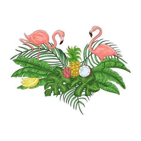 Flamingo party invitation. Tropical Hawaiian poster. Template design. Vector illustration.  イラスト・ベクター素材