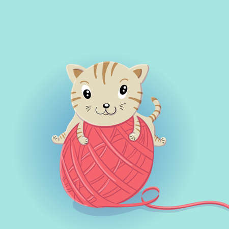 Vector cartoon illustration of Crazy little kitten playing with a big ball of wool