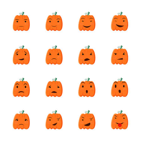 Halloween pumpkin icons set, Emotion Variation. Cartoon style design elements. Set of silhouette spooky horror images of pumpkins.