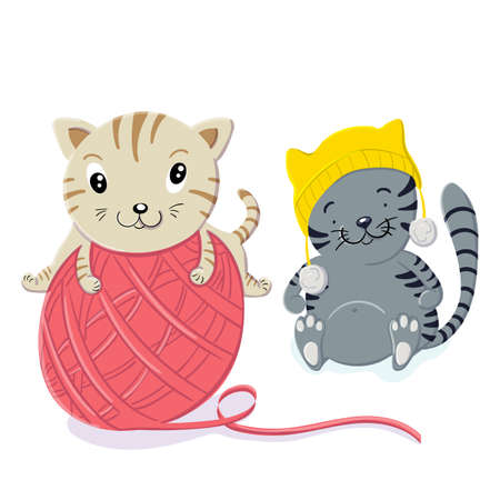 Cute kittens play with a woolen ball in the style of cartoon