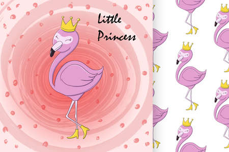Cute little princess abstract background with pink flamingo Vector Illustration and seamless pattern
