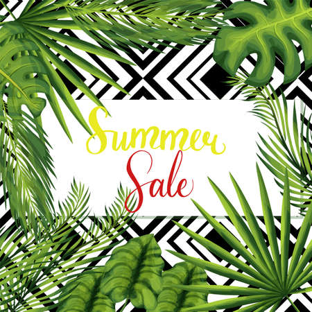 Summer seasonal sale social media post template. Store discount banner. Marketing, promotion card with exotic plant leaves and copyspace. Special offer promotion. Clearance sale advertising Stock Illustratie