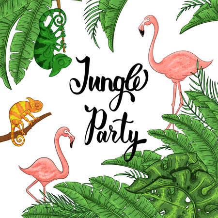 Jungle party banner with flamingo and chameleon, palm leaves Foto de archivo - 129962699