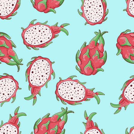 Summerr seamless pattern with tropical fruit. Vector illustration. Red dragonfruit. Çizim