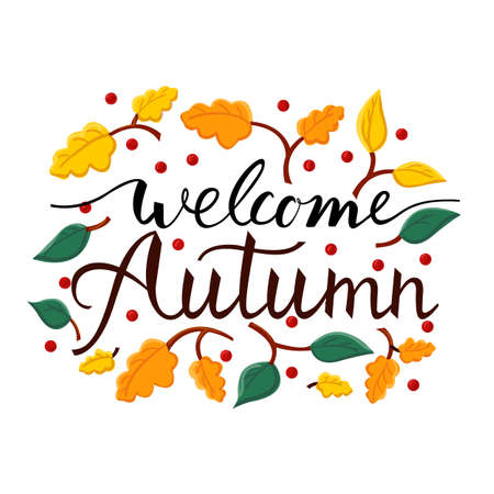 Modern brush phrase welcome autumn. Background with the image of a leaf fall. Ilustracja