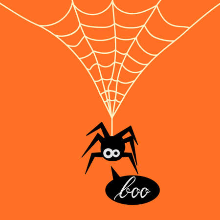 Cute Spider on web orange background. Background of spider on web for the Halloween party