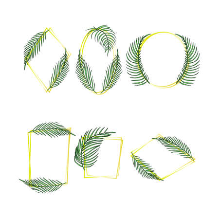 Tropical leaves frame set, jungle palm exotic leaf Ilustracja