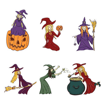 Set little witch girl with with pumpkin and broom cartoon character