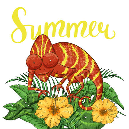 Summer background with chameleon, hibiscus and plants.