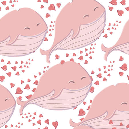 Seamless pattern cute whale in the sea with hearts in the style of a cartoon. Ilustracja
