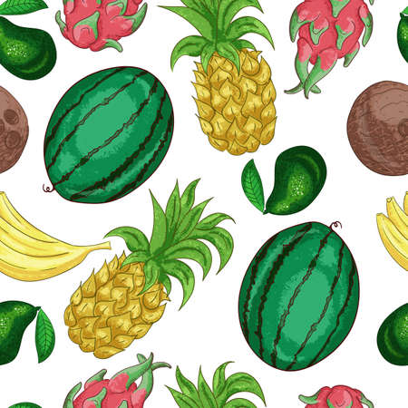 Tropical fruts seamless pattern. Sweet tropical fruit cut into pieces line art. Exotic ananas color. Vitamin containing dessert, vegetarian diet ingredient doodle