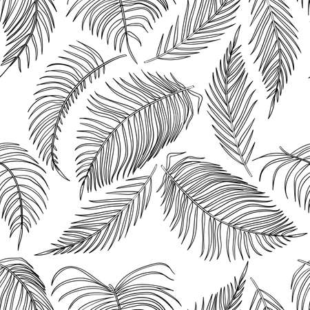 sketch palm leaves seamless pattern, jungle leaf on white background.