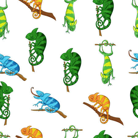 Chameleons seamless pattern in different poses color illustrations
