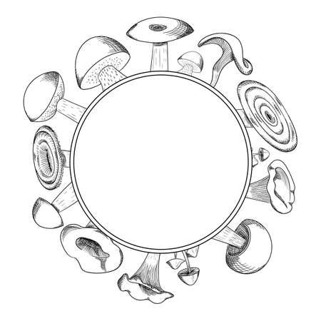 Mushroom hand drawn sketch wreath. Mushroom shiitake, fresh organic food isolated on white.