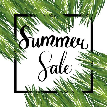 Summer seasonal sale palm leaves template Illustration