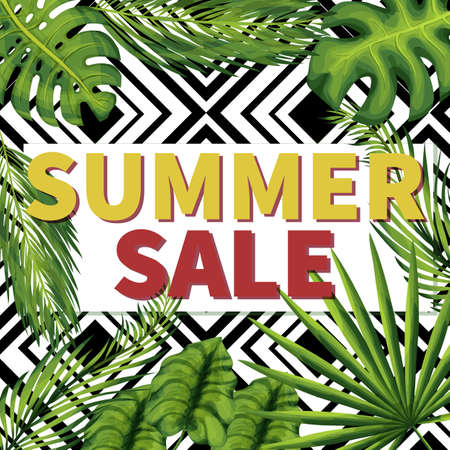 Summer seasonal sale social media post template Zdjęcie Seryjne - 129962832