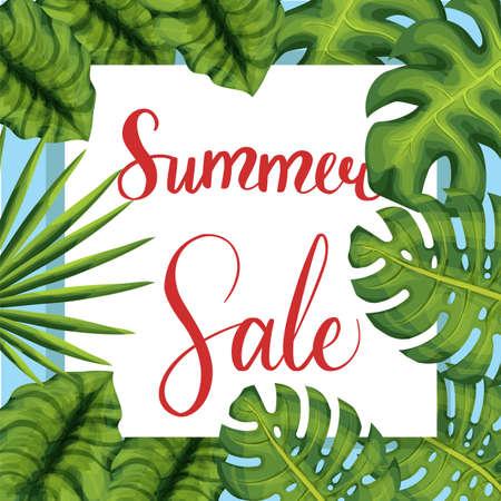 Summer sale lettering poster palm leaves Illustration