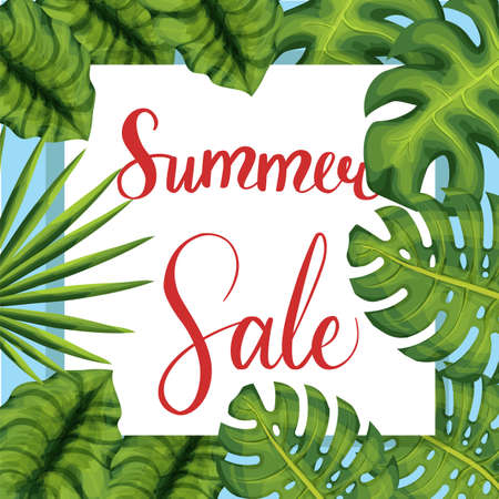 Summer sale lettering poster palm leaves Ilustracja