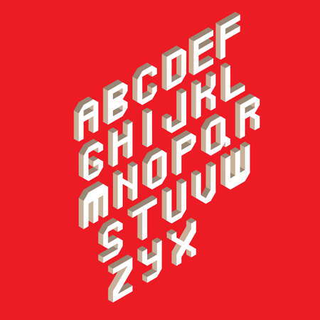 White isometric 3d abc isoleted in red background