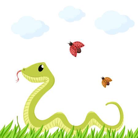 Cartoon cute green smiles snake animal illustration.