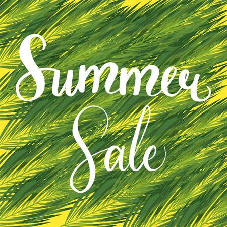 Summer sale seasonal palm leaves template Illustration