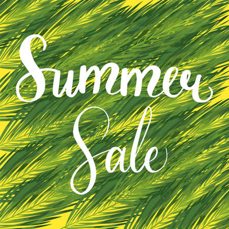 Summer sale seasonal palm leaves template Ilustracja
