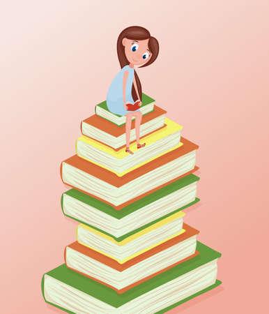 Girl reading books illustration for world book day