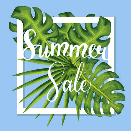 Summer sale lettering discount template palm leaves