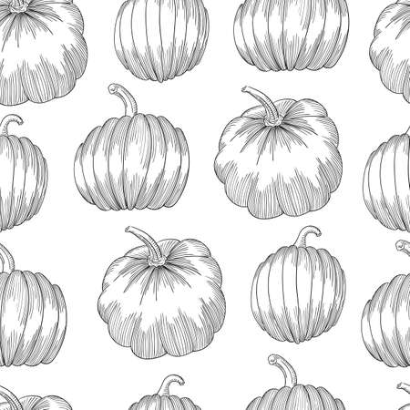 Pumpkin seamless pattern. Vegetable engraved style illustration. Detailed vegetarian food sketch. Farm market product.